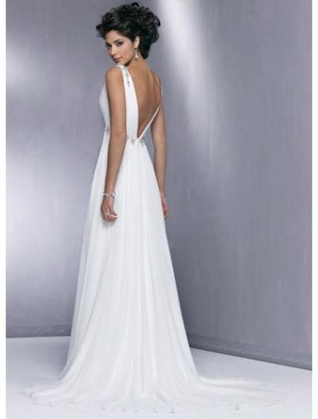 Ärmellos A-Linie V-Ausschnitt Hohe Rückenfrei Brautkleid