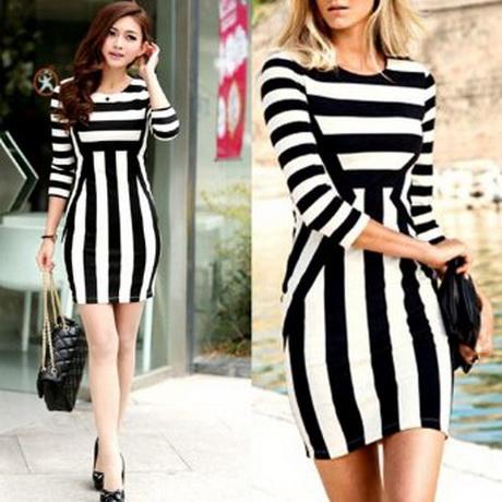 Kleid schwarz weiß gestreift