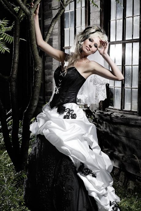 Hochzeitskleid schwarz weiss