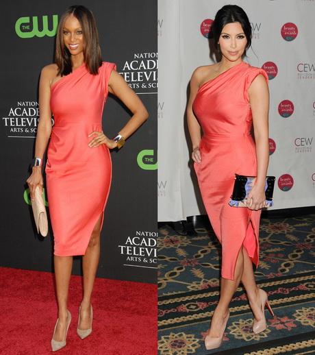 Tyra Banks Clothing Line: One Shoulder Kleid Frisur