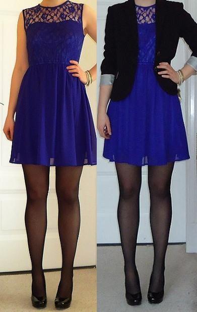 Blaues kleid kombinieren