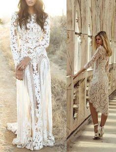 Langes spitzenkleid weiß