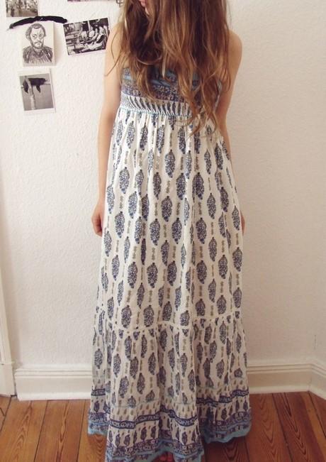 Weisses langes hippie kleid