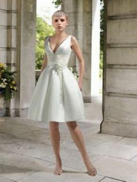 Tief-V-Ausschnitt Kurz Attraktiv Empire Satin Hochzeitskleid