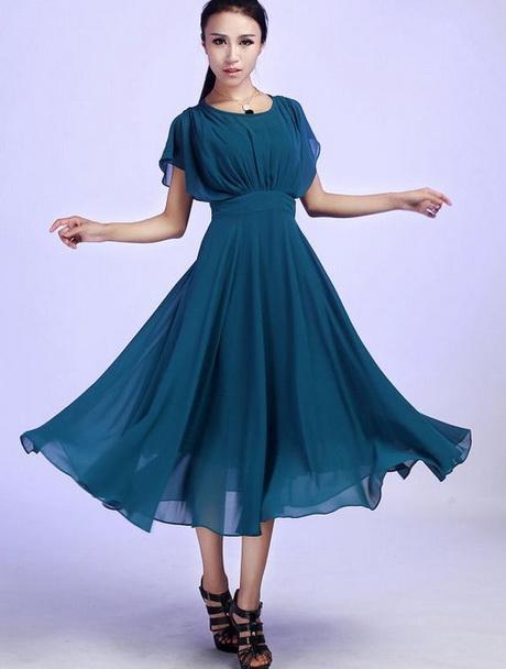 Chiffon Kleid Einfarben Modische Kleider Beliebt In