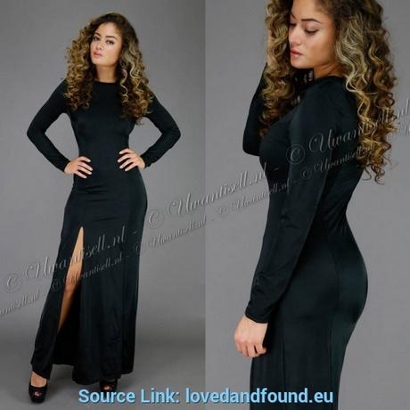 schwarzes abendkleid mit schlitz