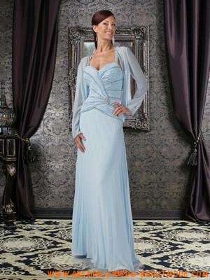 blaue lange brautmutter kleider aus chiffon mit jacke mit pailletten. Black Bedroom Furniture Sets. Home Design Ideas