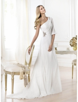 ein Schulter Hochzeitskleider