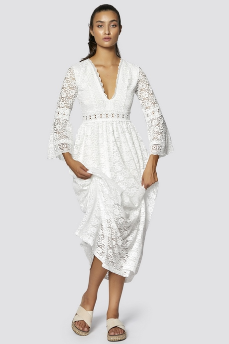 Kleid weiß lang sommer