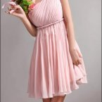 One shoulder kleid rosa