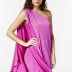 One shoulder kleid langarm