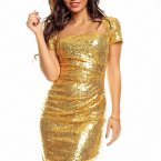 Abendkleid gold pailletten